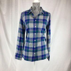 J Crew Womens M Blue Gray Plaid Flannel Shirt
